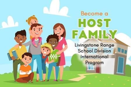 Illustrated family outside home with international exchange students